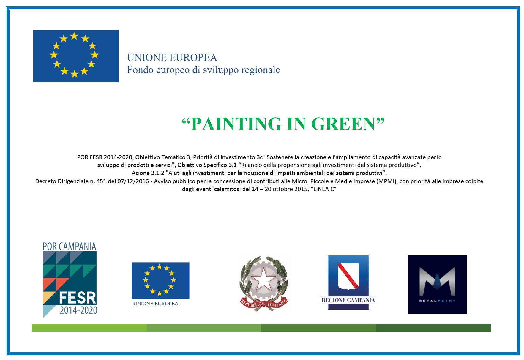 "TARGA DI MERITO METAL PAINT ""PAINTING IN GREEN"" DALL'UNIONE EUROPEA"